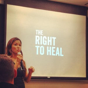 "Dr. Jaymie Ang Henry, director of ""The Right to Heal"" addresses the audience at a private screening of the film."