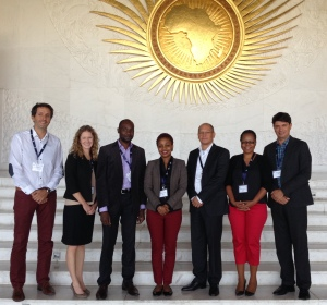 GE LIS Training at the African Union (L-R: Pierre Callens, Abbey Kocan, Elly Festo, Rehema Ngamilo, Frans Vanmidde, Haika Mawalla, Erwin Telemans)